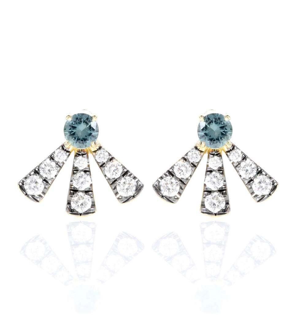 Jemma Wynne Yellow Gold, Diamonds And Sapphire Earrings In No