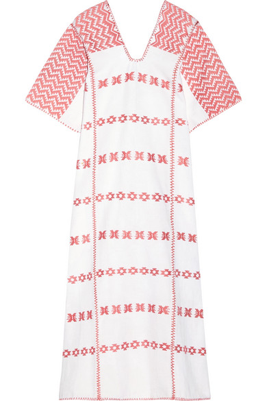 Pippa Holt Embroidered Cotton Kaftan In Pink