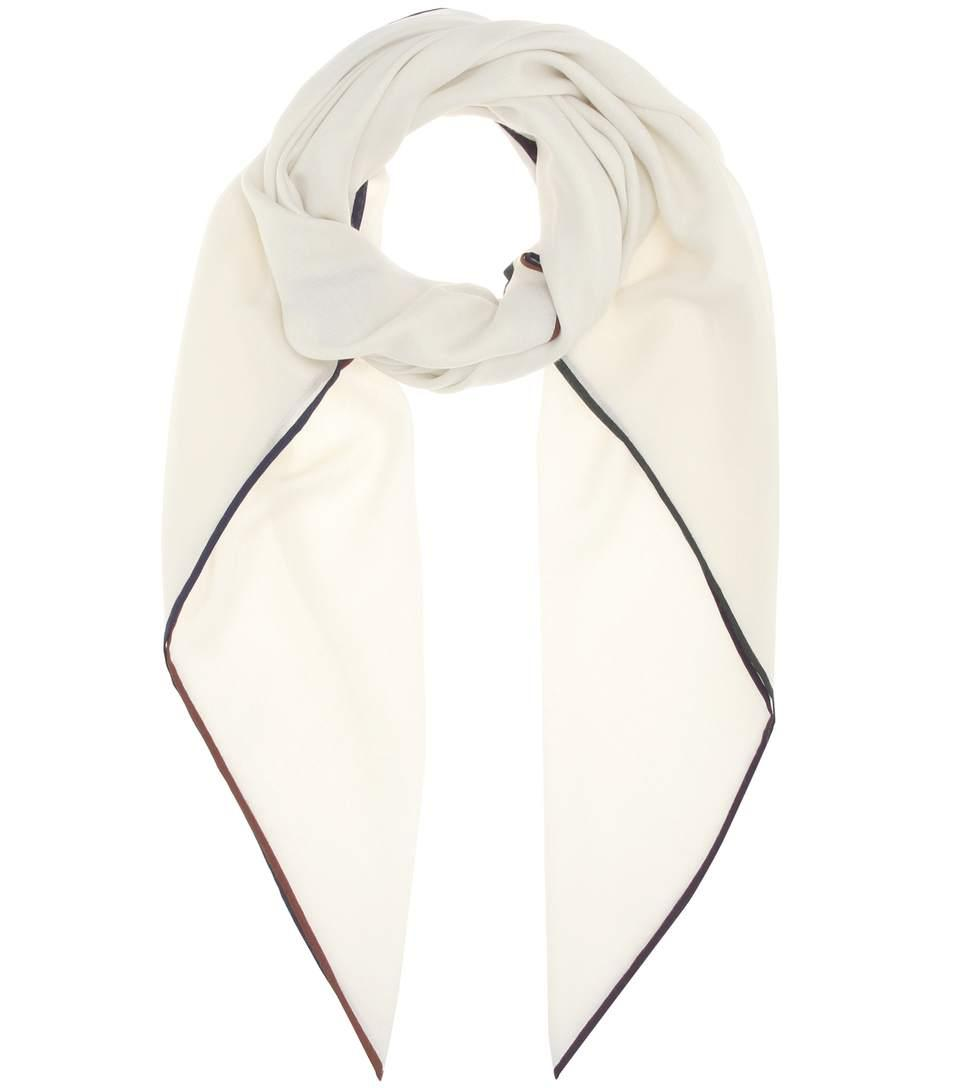 Loro Piana Four In Hand Cashmere And Silk Scarf In White