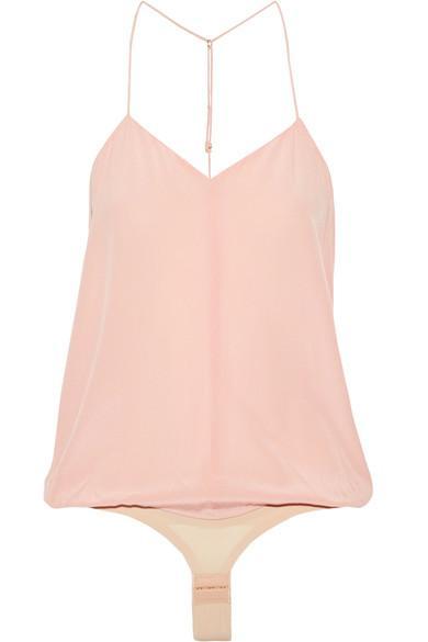 Tuxe Doyenne Silk Crepe De Chine Bodysuit In Blush
