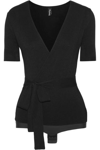 Tuxe Solicitor Wrap-effect Stretch-knit Bodysuit In Black