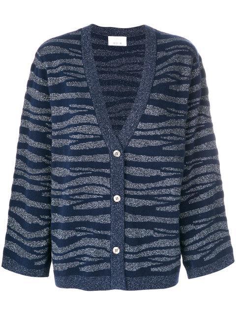 Allude Tonal Zebra Pattern Cardigan In Blue