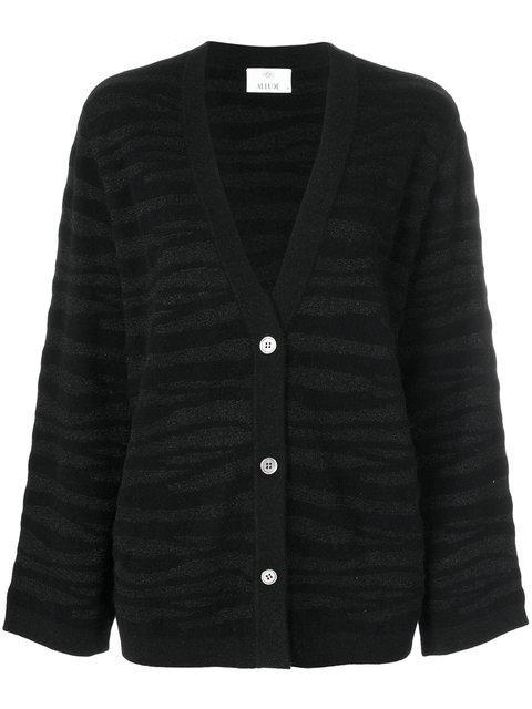 Allude Tonal Zebra Pattern Cardigan In Black