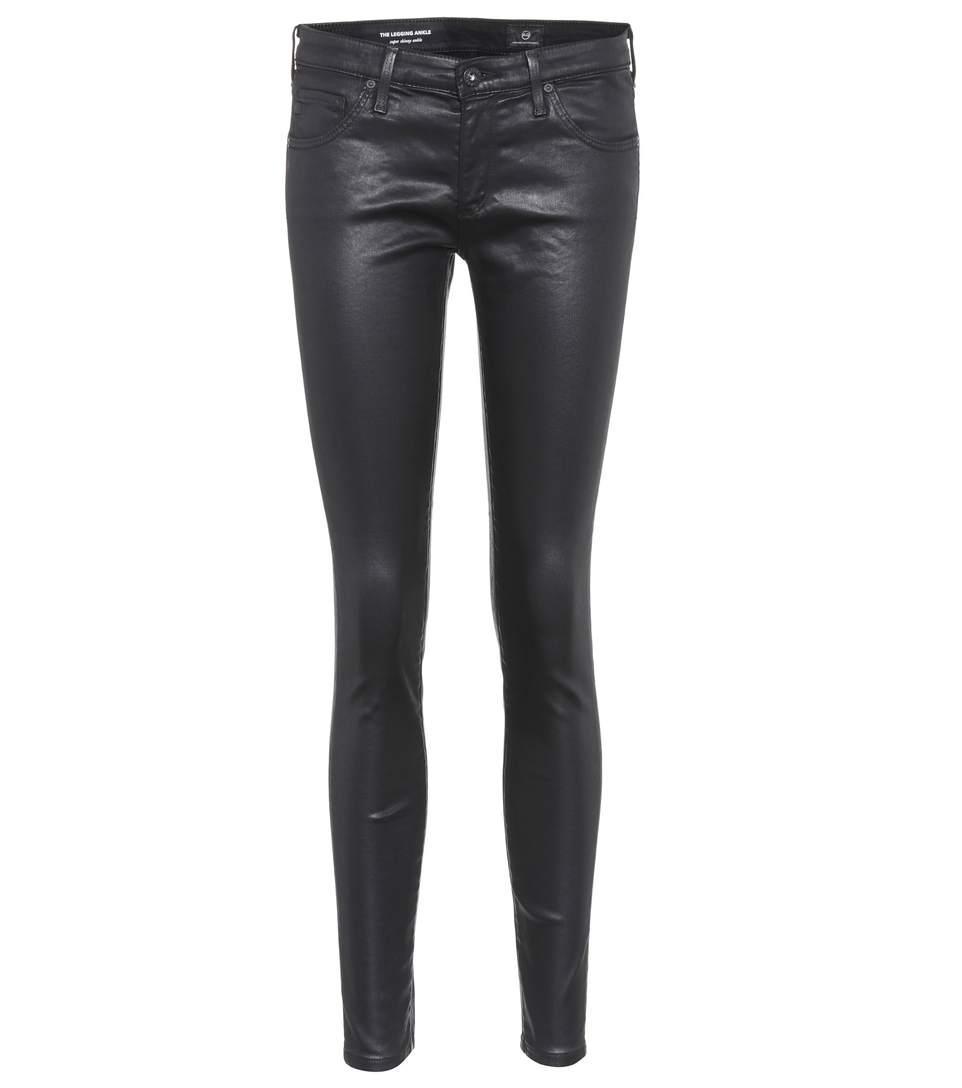 Ag The Legging Ankle Coated Skinny Jeans In Black