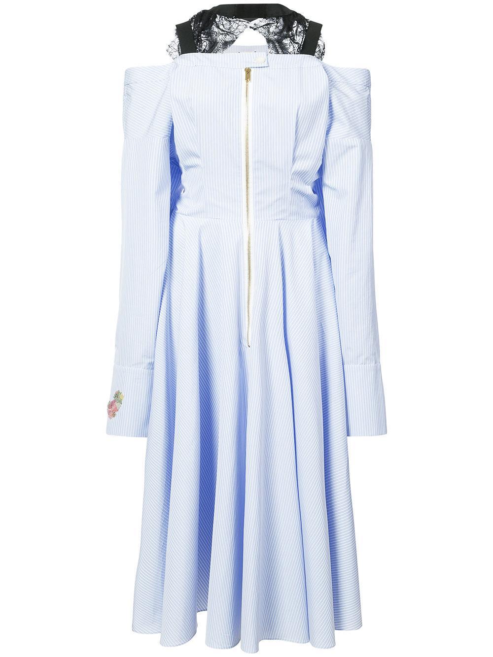 Natasha Zinko Cold-shoulder Pinstriped Cotton-blend Midi Dress