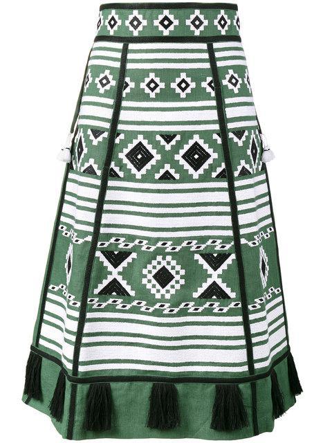 Vita Kin Croatia Embroiderd A-line Skirt In Green