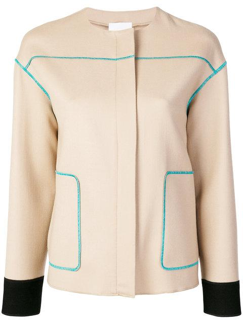 Agnona Contrast Stitch Jacket - Neutrals
