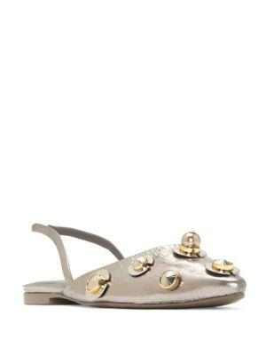 Mercedes Castillo Avelina Embellished Pointy Toe Flat In Pewter