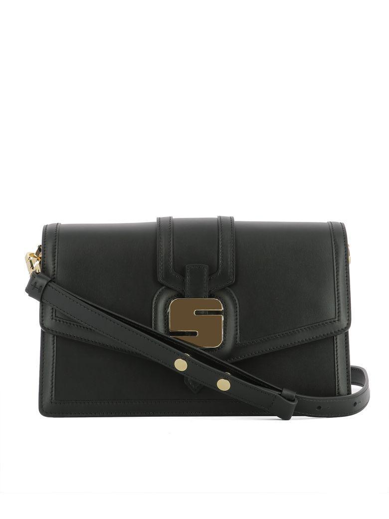 Serapian Black Leather Shoulder Bag