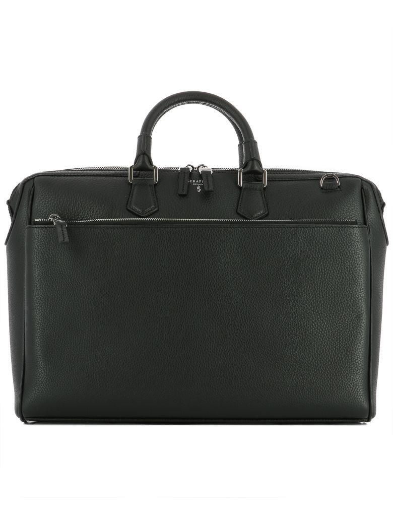 Serapian Black Leather Handle Bag