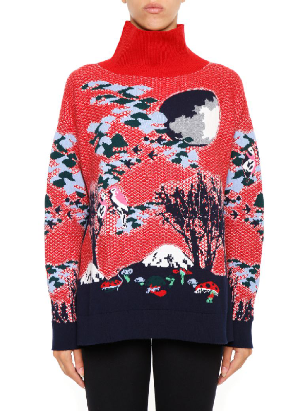Barrie Jacquard Cashmere Pullover In Red blu