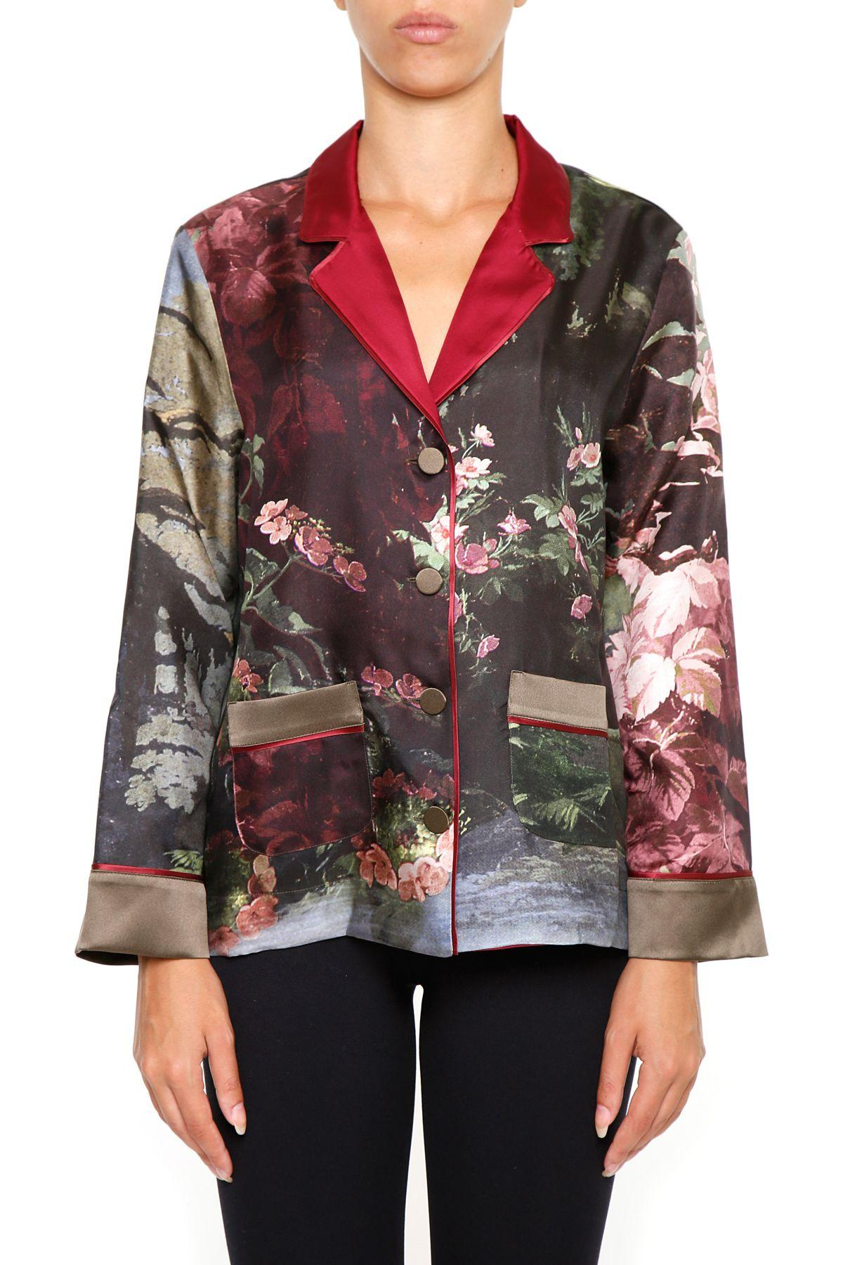 F.r.s For Restless Sleepers Printed Silk Shirt In Paesaggio|verde