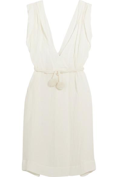 Three Graces London Isoletta Belted Linen-blend Dress In Ivory