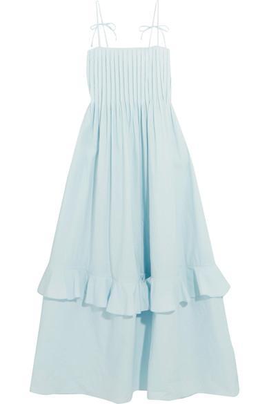 Three Graces London Nedda Pintucked Ruffled Cotton-poplin Dress In Sky Blue