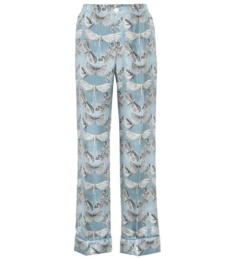 F.r.s For Restless Sleepers Etere Printed Silk Trousers In Farfalle F. Do Polvere
