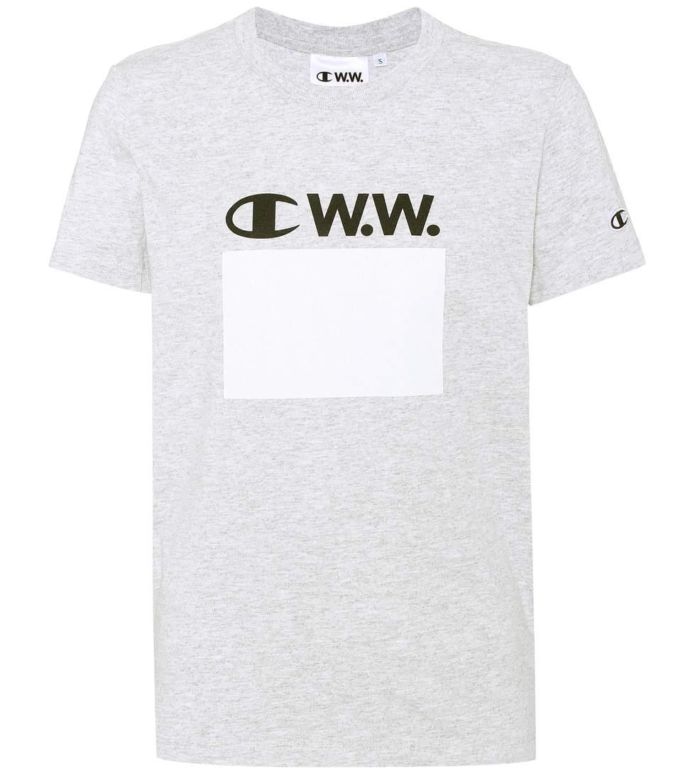 Champion Printed Cotton-blend T-shirt In Grey