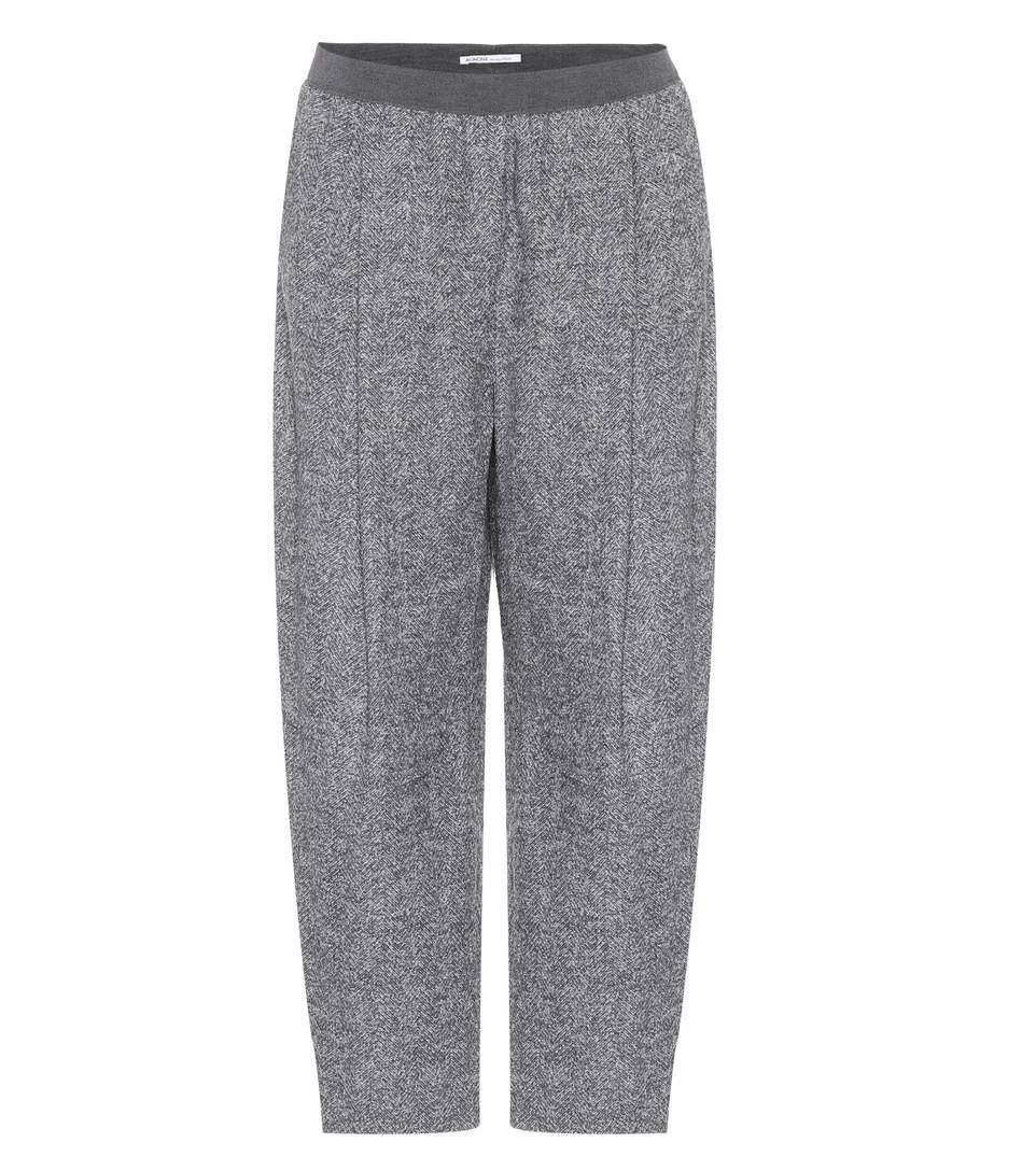 Agnona Cropped Alpaca-blend Trousers In Grey