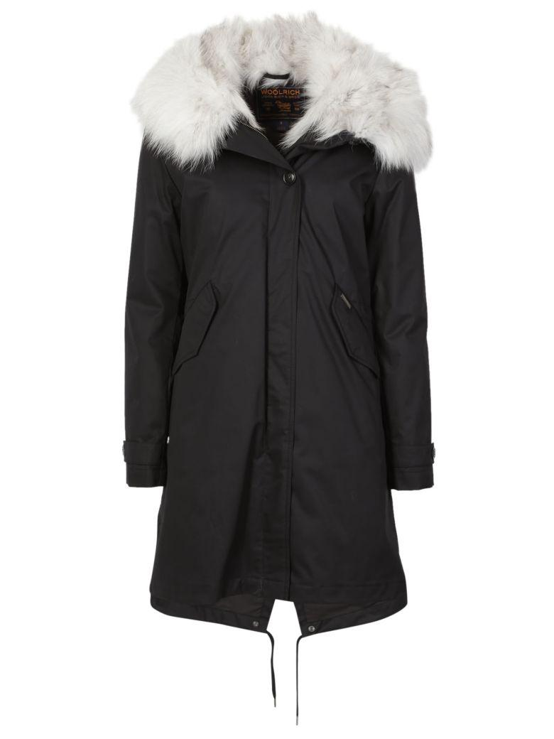 Woolrich Literary Fox Eskimo Cotton Parka With Fur-trimmed Hood In Black
