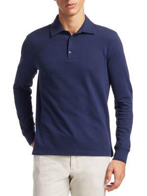Loro Piana Comfort Piqué Long-sleeve Polo Shirt In Blue