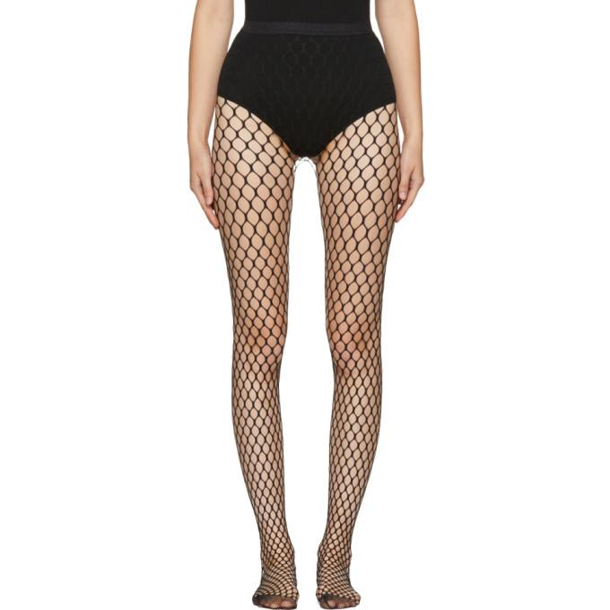 Wolford Black Madeline Fishnet Tights In 7005 Black