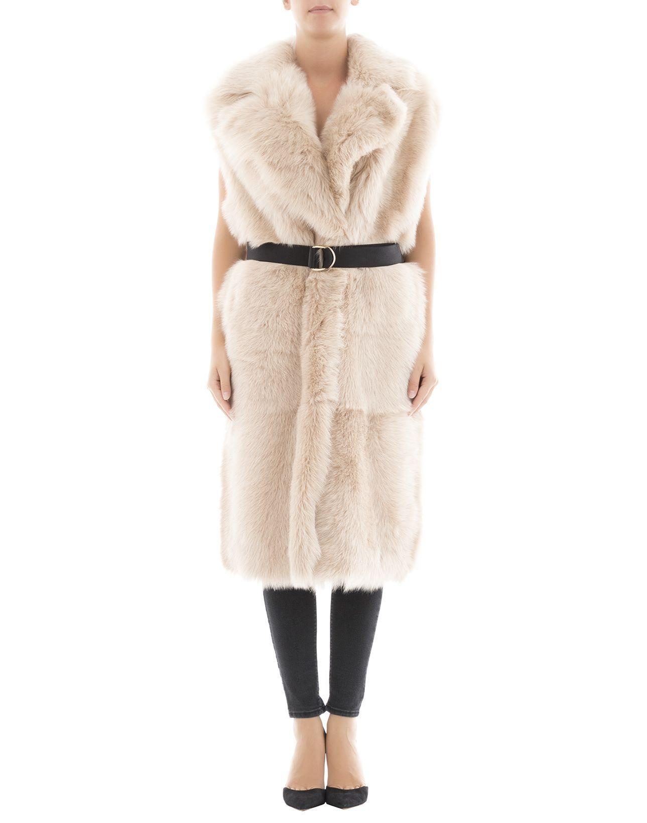 Blancha Beige Leather Coat