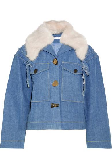 Rejina Pyo Daphne Faux Fur-trimmed Denim Jacket In Light Denim