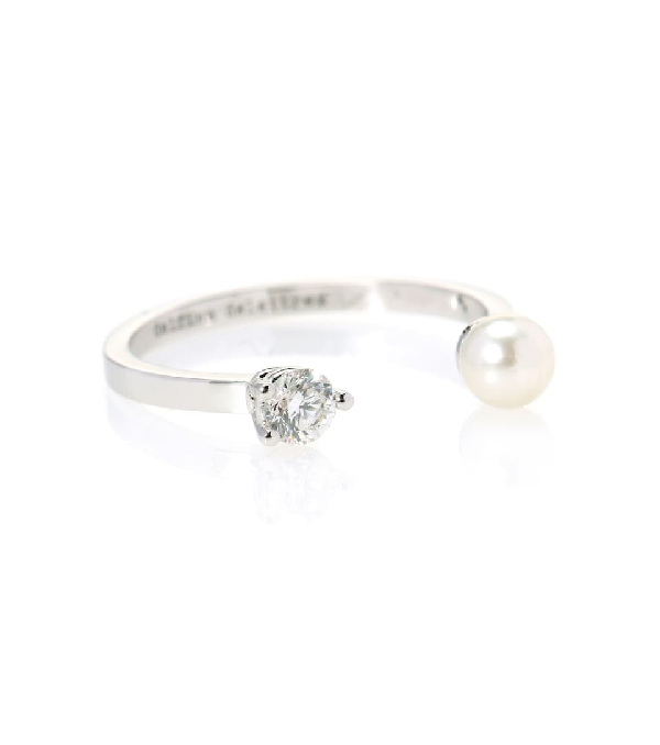 Delfina Delettrez Domino Pearls Dots 18kt White Gold, Diamond And Pearl Ring In Silver