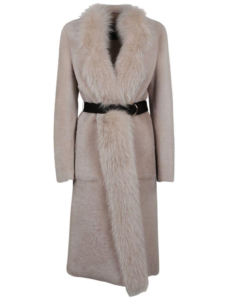 Blancha Felted Fox Coat In Grey-pearl