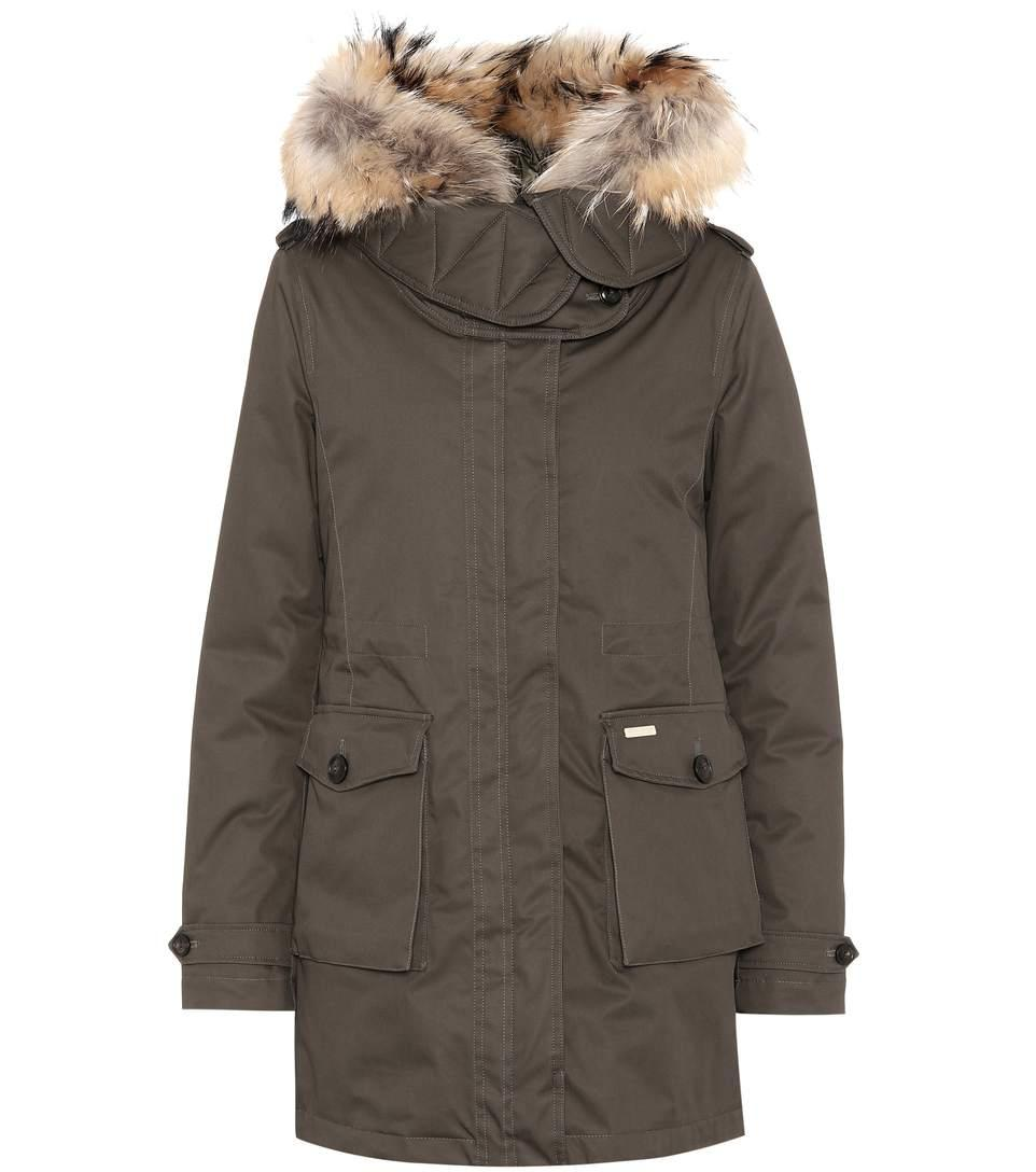 Woolrich Scarlett Fur-trimmed Down Coat In Military Olive
