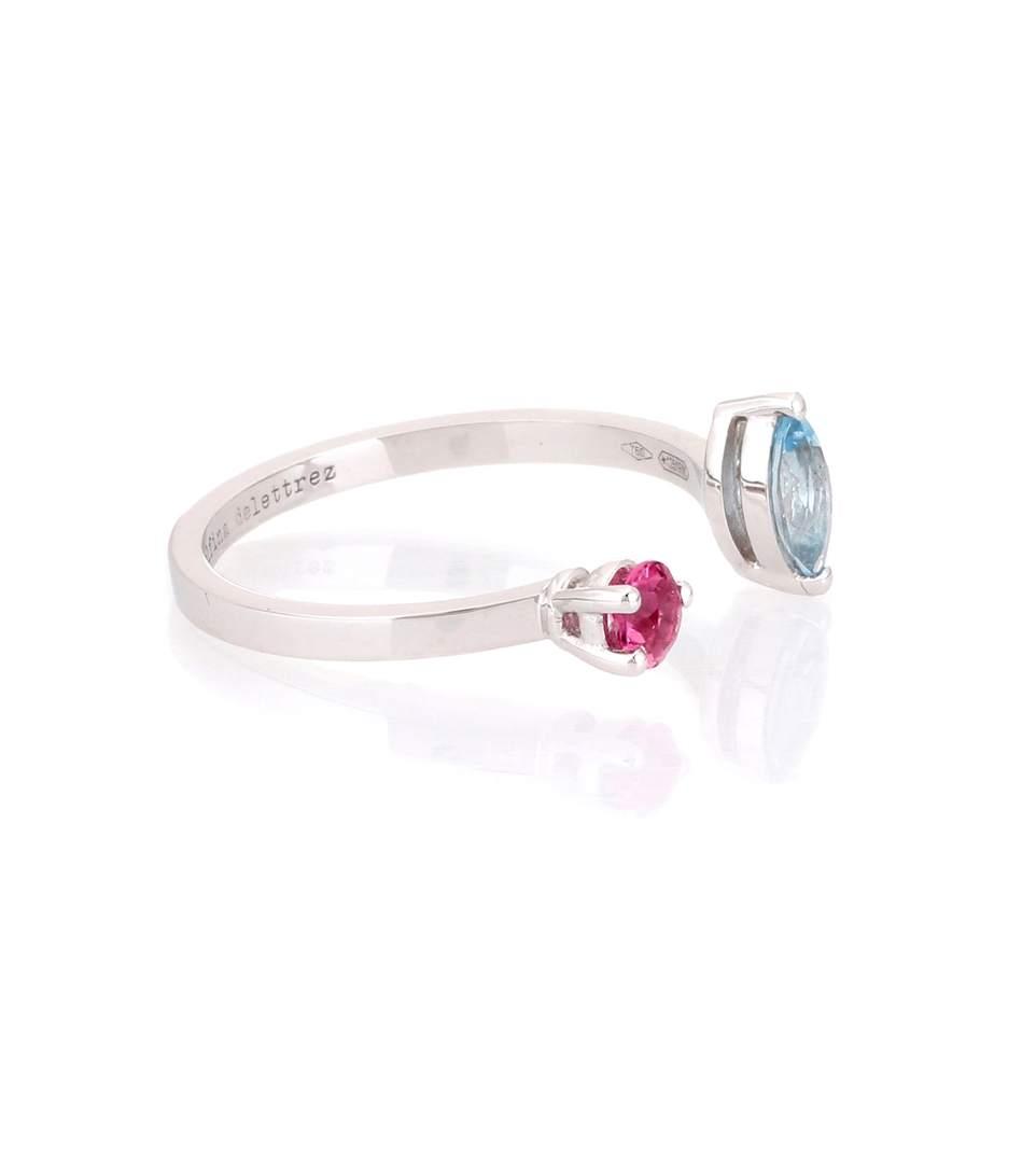 Delfina Delettrez Dots 18kt Gold, Aquamarine And Tourmaline Ring In Silver