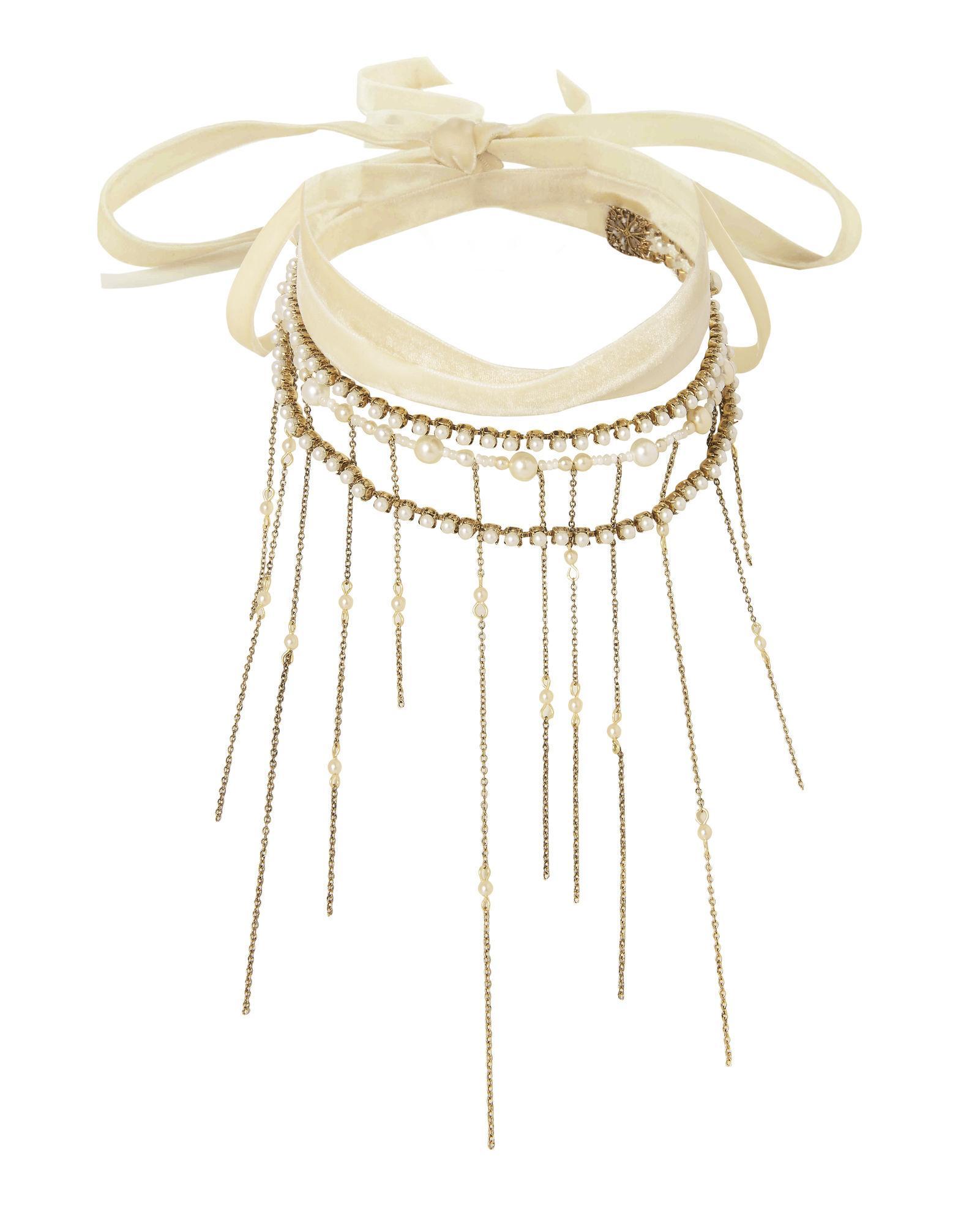 Erickson Beamon Wrap Tie Pearl Fringe Necklace