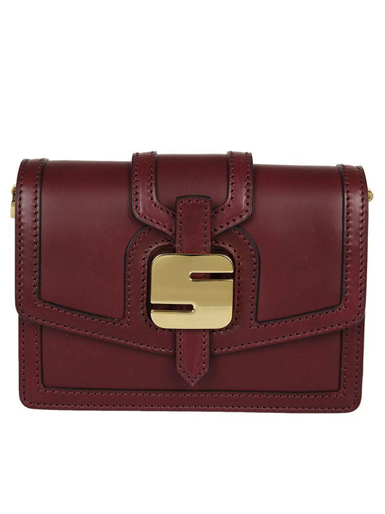 Serapian Smooth Claret Mini Shoulder Bag In Bordeaux