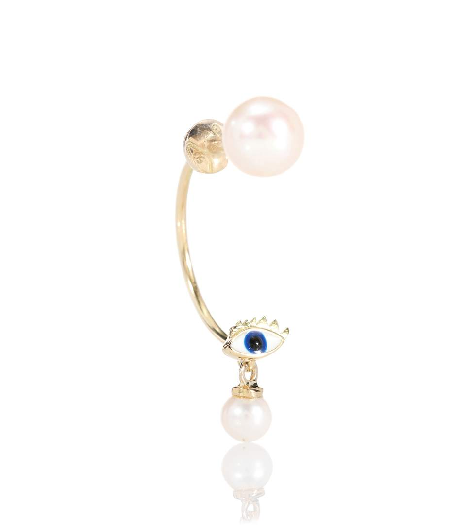 Delfina Delettrez Micro Eye 18kt Yellow Gold And Pearls Earring In No