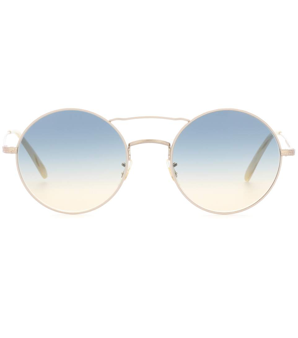 Oliver Peoples Nickol Round Gradient Sunglasses, Beige In Bone/sunrise Gradient