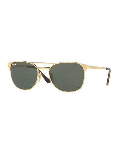 Ray Ban Ray-ban Double Bar Round Sunglasses, 58mm In Gold