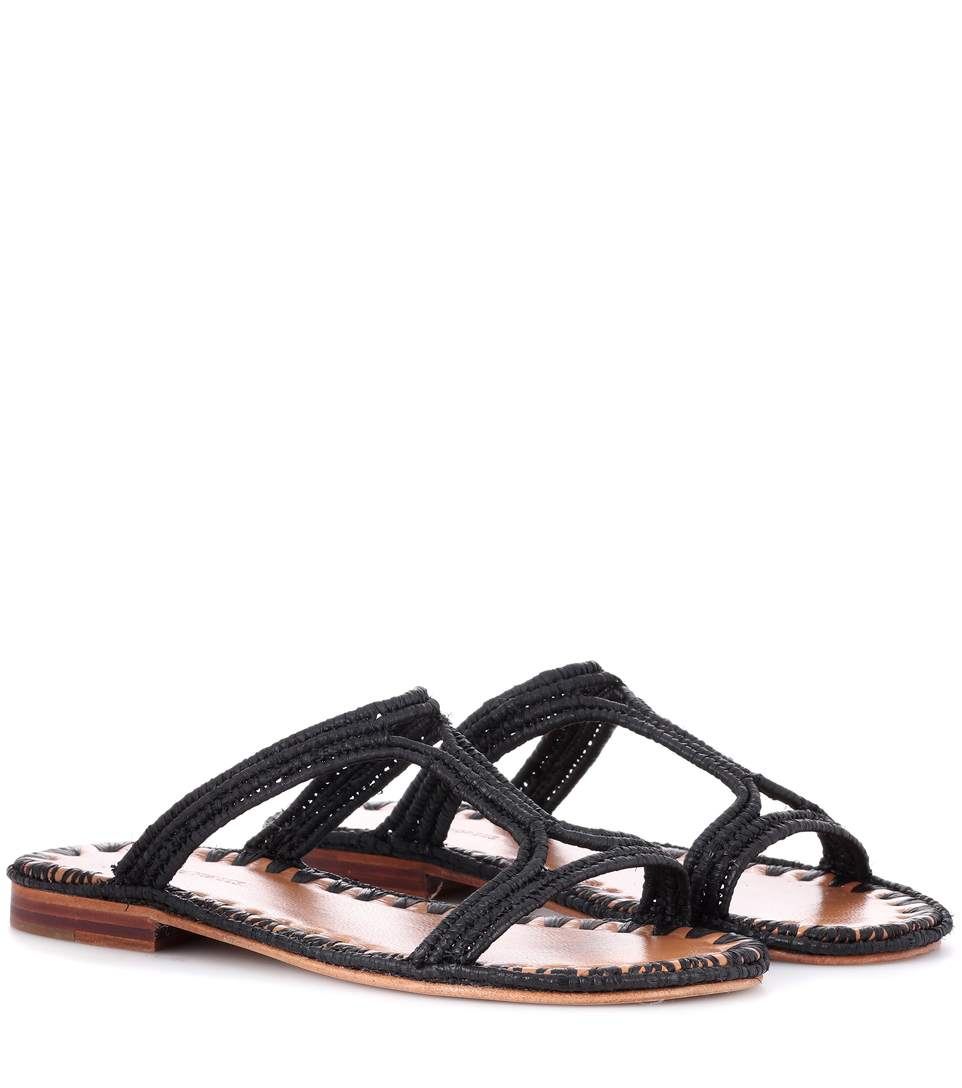 Carrie Forbes Raffia Sandals In Black