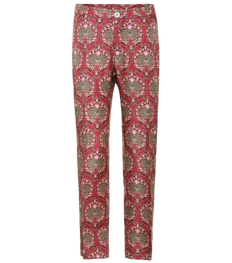 F.r.s For Restless Sleepers Tartaro Printed Silk Trousers In Oreameetal Rosa