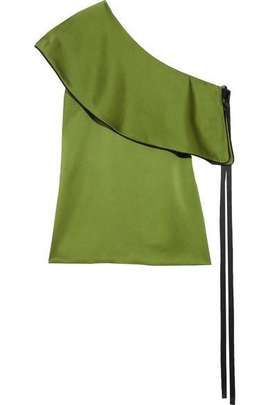 Hellessy Mercer One-shoulder Ruffled Silk-satin Top In Green