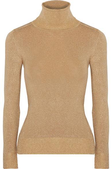 Joostricot Metallic Stretch-knit Turtleneck Sweater In Gold