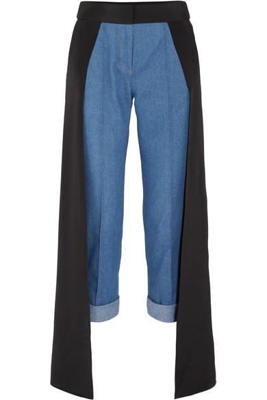 Hellessy Smith Silk Satin-paneled High-rise Straight-leg Jeans