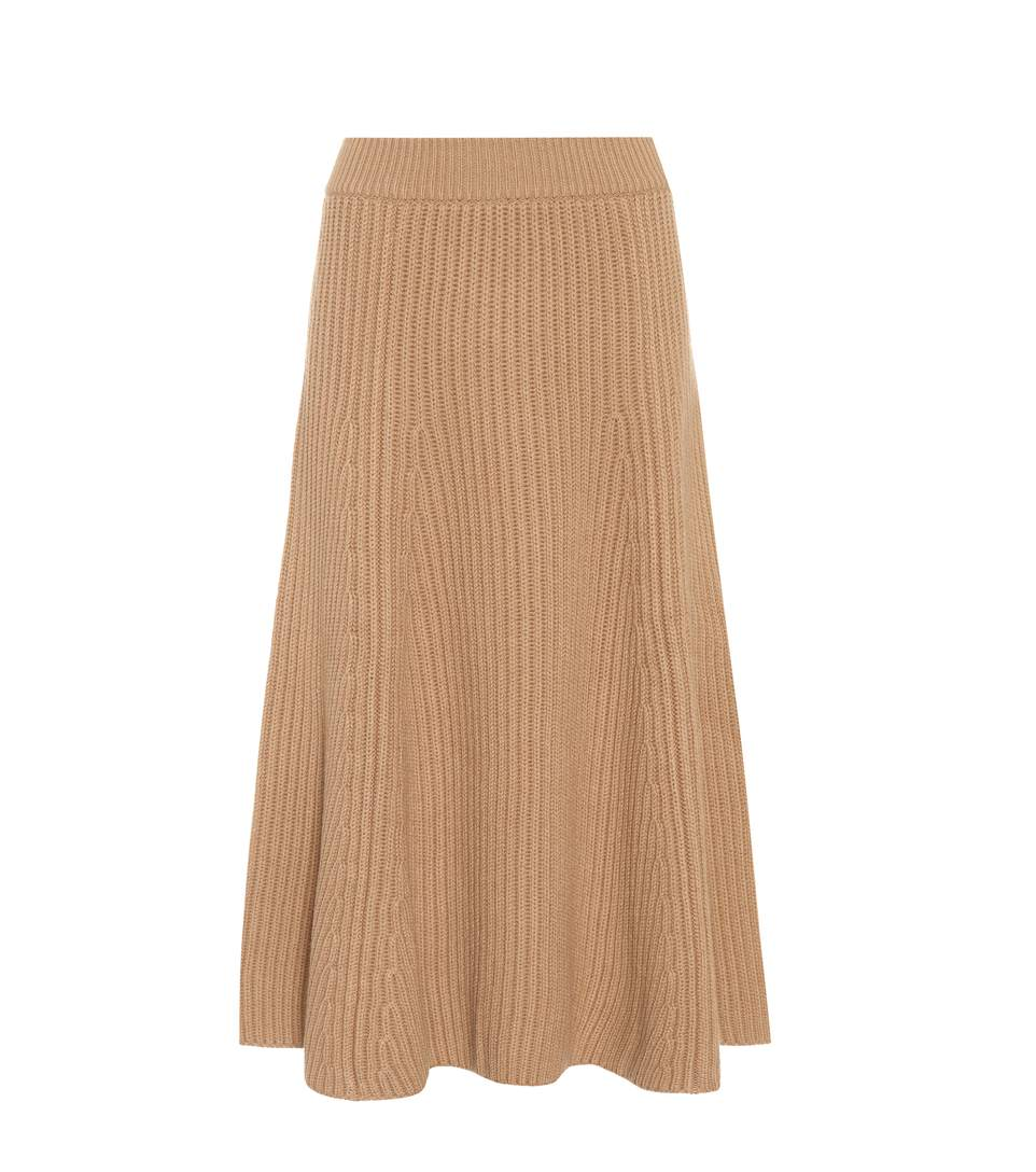 Agnona Ribbed Wool And Cashmere Skirt In Camel