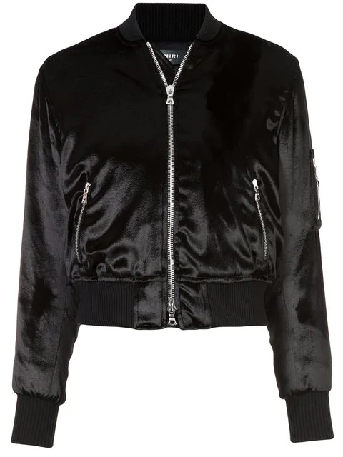 Amiri Velvet Finish Bomber Jacket In Black