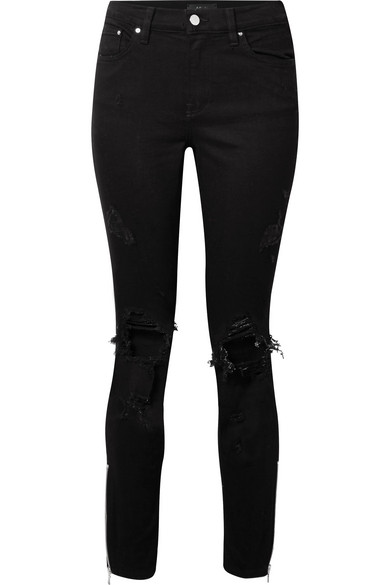 Amiri Thrasher Distressed High-rise Skinny Jeans In Black