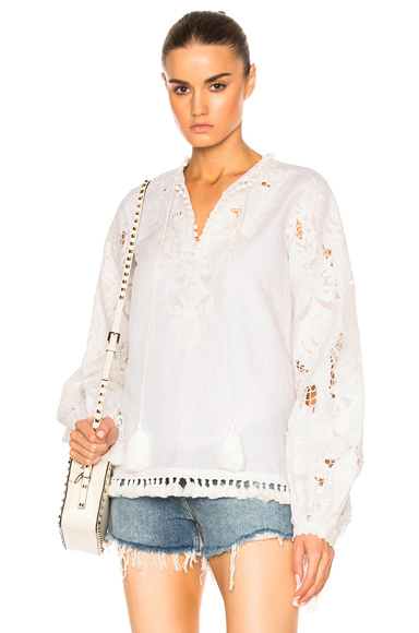 Talitha Marina Cutwork-lace Cotton Blouse In White