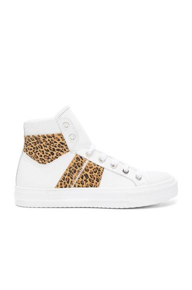 Amiri Leather & Calf Hair Sunset Sneakers In White, Animal Print.  In White & Leopard