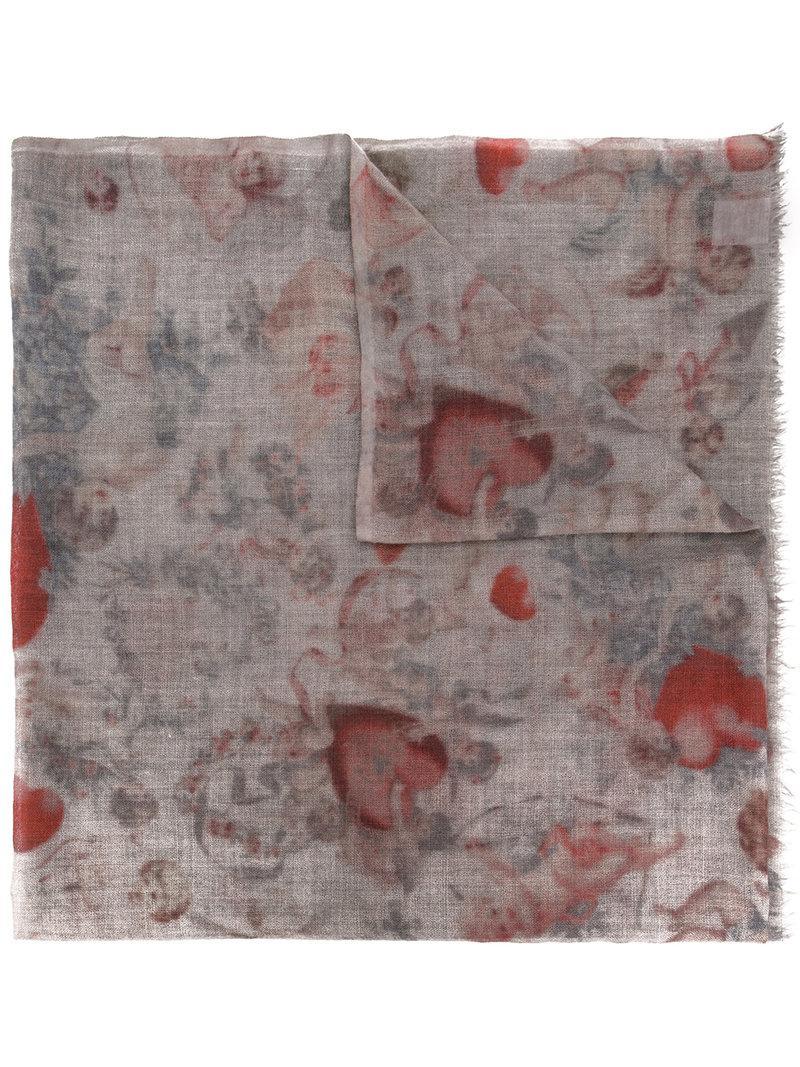 Faliero Sarti Printed Scarf In Grey