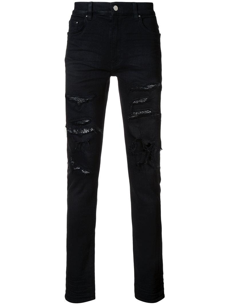 reliable quality special section aliexpress Art Patch Distressed Slim Jeans - Black