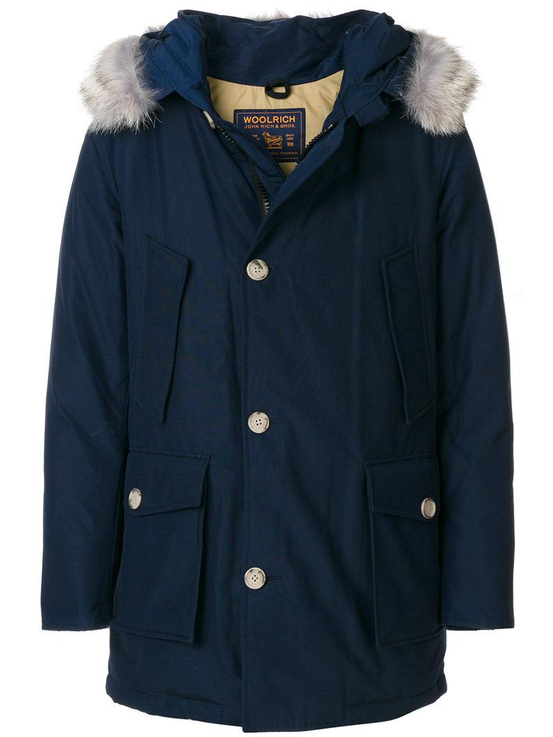 Woolrich Arctic Fur-trimmed Down Parka In Blue