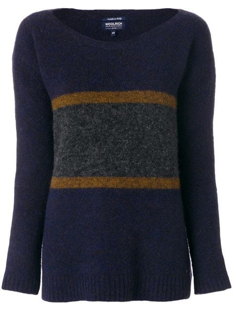Woolrich Colour Block Jumper In Blue