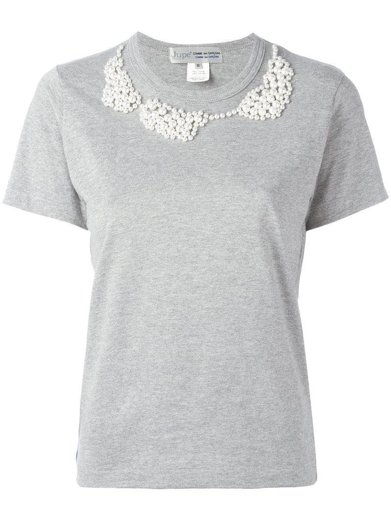 Comme Des GarÇons Comme Des GarÇons Pearled Trim T-shirt - Grey